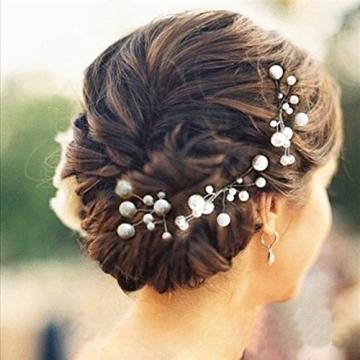 6 Stk. Perlen Strass Hochzeit Brautschmuck Braut Haarschmuck Strass Haarklammer -