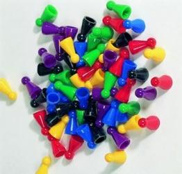 60er-Set Halmakegel aus Kunststoff (25 mm), farblich gemischt -