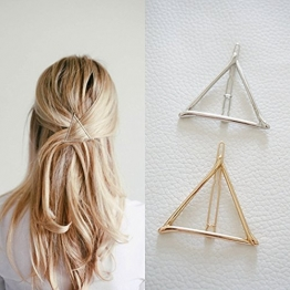 ANKKO 1 Stück hohle Dreieck geometrische Metall Haarspange Haarnadeln Haar Clip (Gold) -