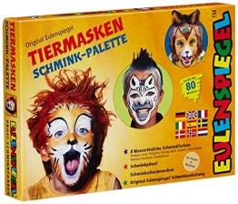 Eulenspiegel 208038 - Schminkset Tiermasken, Schminkpalette, Pinsel, Schwämmchen und Anleitung, 8 Farben -
