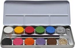 Eulenspiegel 212202 - Schminkpalette aus Metall, 2 Glitzer und 2 Pinsel, 10 Farben -