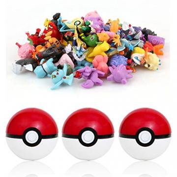 Katara 1769 - 48 Pokémon Sammel-figuren mit 3 Pokébällen Überraschungs-Set, Spielfiguren, 1-3 cm, bunt -