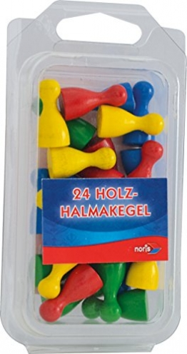 Noris Spiele 606154362 - 24 bunte Holzhalmakegel -