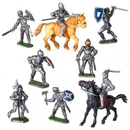 Ritter Figuren Set - 8 Figuren und 2 Pferde - Spielfiguren -