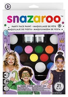 Snazaroo Schminkfarben Ultimatives Party Set, Schminkpalette mit 2 Pinsel, 4 Schwämmchen & Anleitung in englisch, 2 Glittergel, 12 Farben -