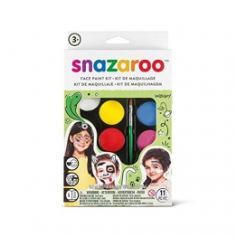 Snazaroo Schminkset für Jungen & Mädchen, Schminkpalette mit Pinsel, Schwämmchen und Anleitung ( engl.), 8 Farben -