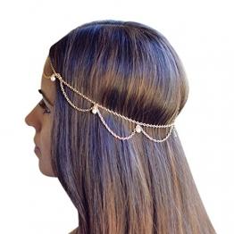 Ukamshop glänzend Gold Metall Quasten Schmuckkette Stirnband Kopfschmuck Haarbänder -